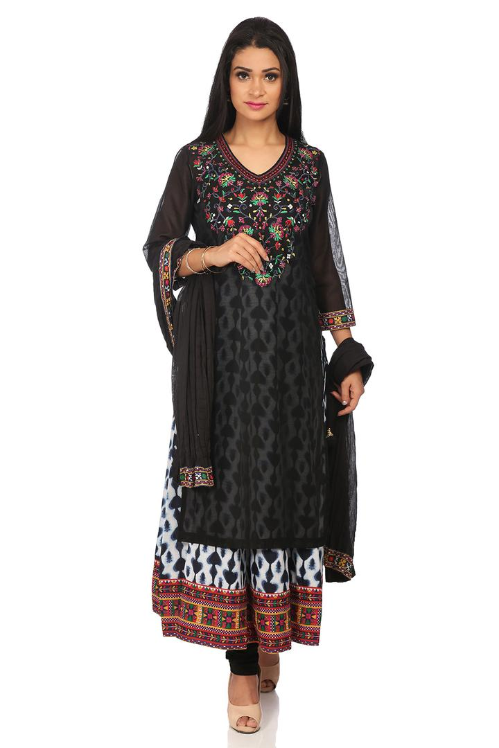 Black Poly Cotton Straight Suit Set - SKD5569AW18B