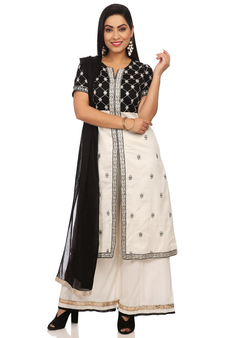 Black & White Cotton Silk Anarkali Suit Set - SKD5