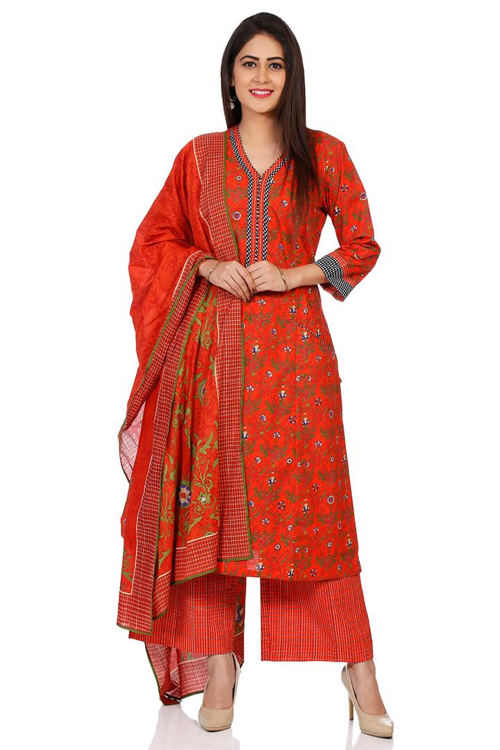 Red Cotton Straight Suit Set - SKD5629AW18RED
