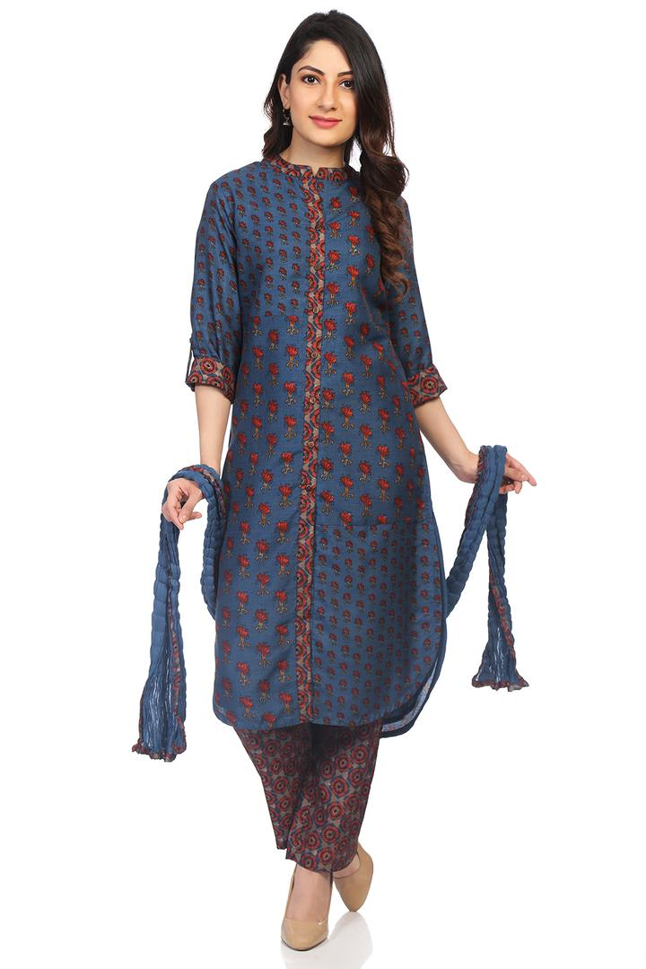 Blue Art Silk Straight Suit Set - SKD5642AW18BLU