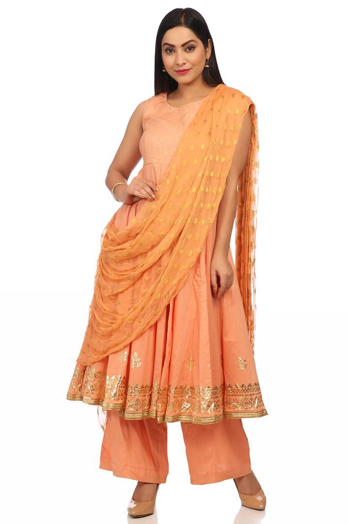 Peach Cotton Anarkali Suit Set - SKD5780SS18PCH