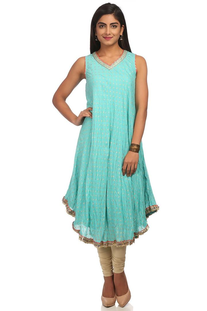 Turquoise Flared Cotton Kurta - SUMMERE13508SS18TU