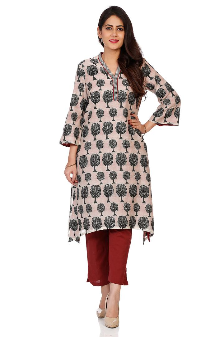 Beige & Black Cotton A-Line Kurta - THREADC14045AW