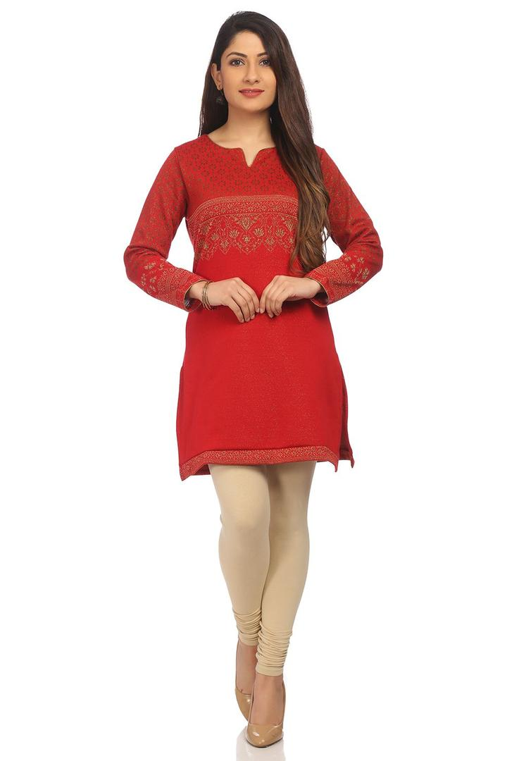 Red Straight Poly Cotton Kurta - WINTERC13287AW17R