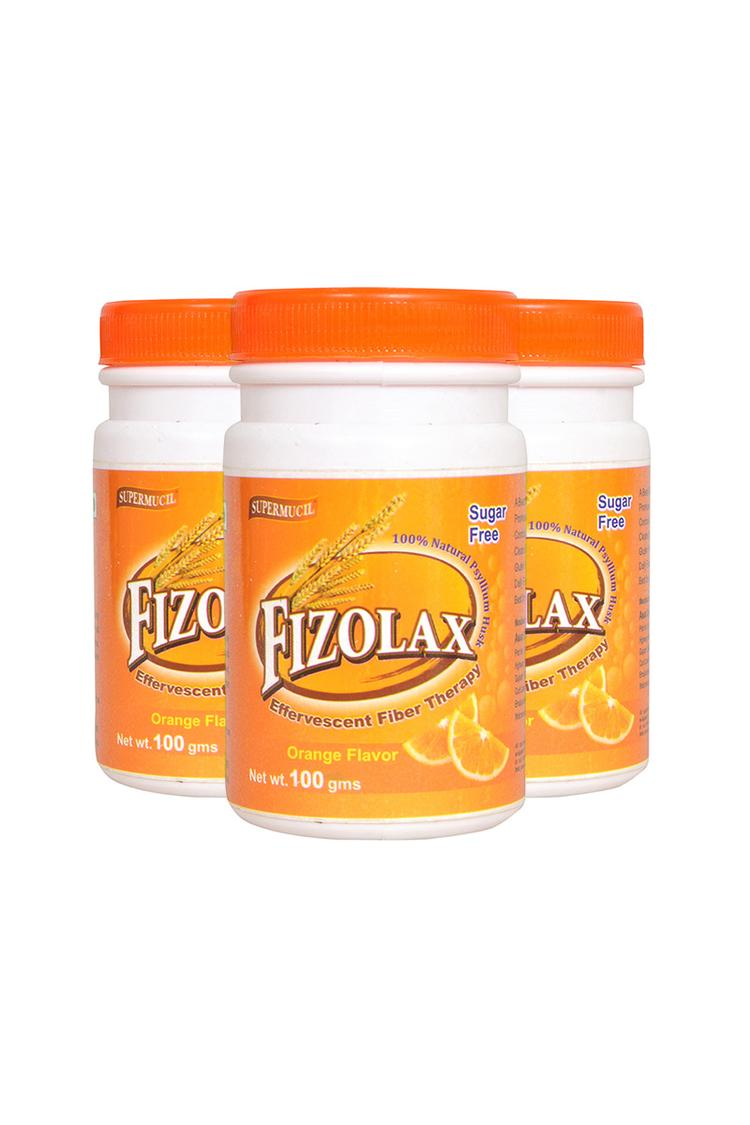 Supermucil Fizolax Psyllium Effervescent Combo 3X100 gm Orange Flavor