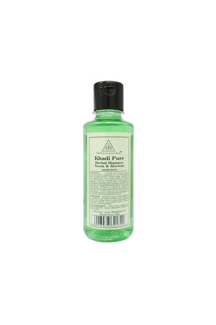 Khadi Pure Herbal Neem & Aloevera Shampoo 210Ml
