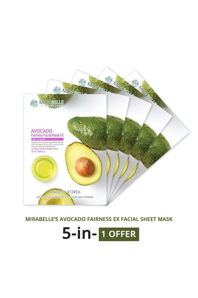 Mirabelle Korea Avocado Fairness Facial Sheet Mask Ex 25Ml