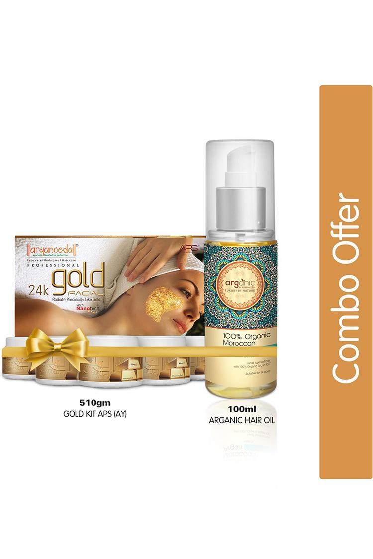Aaranyaa Gold Facial Kit With Arganic Hair Oil 610 Gm