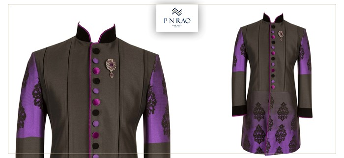 purple and black sherwani