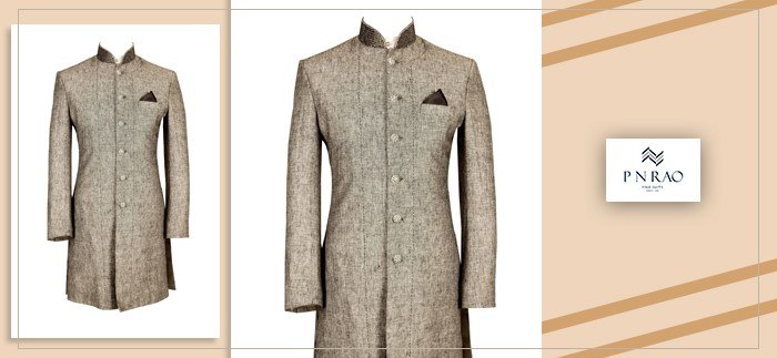 bandhgala or Nehru collar suit in grey