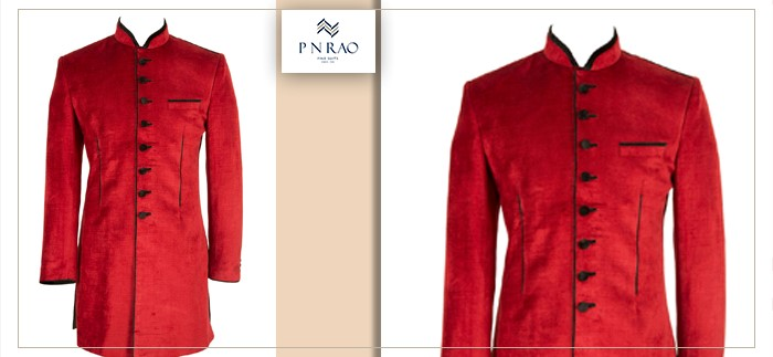 solid red indo-western suit