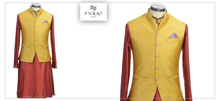 maroon kurta with a golden tinge