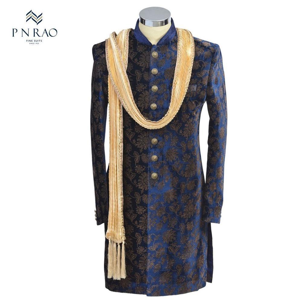 Blue velvet indo-western suit