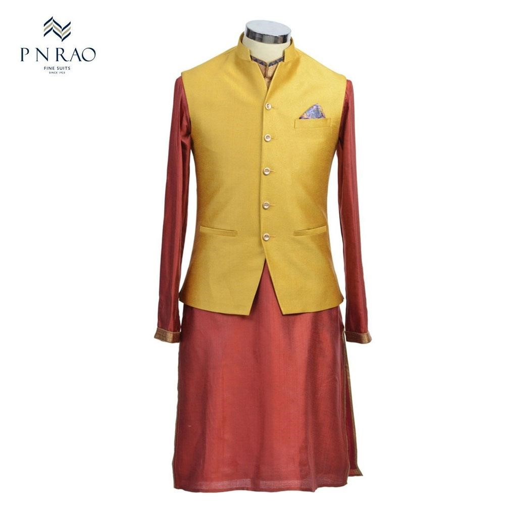 Maroon and Yellow Kurta Set with Classic Bandi