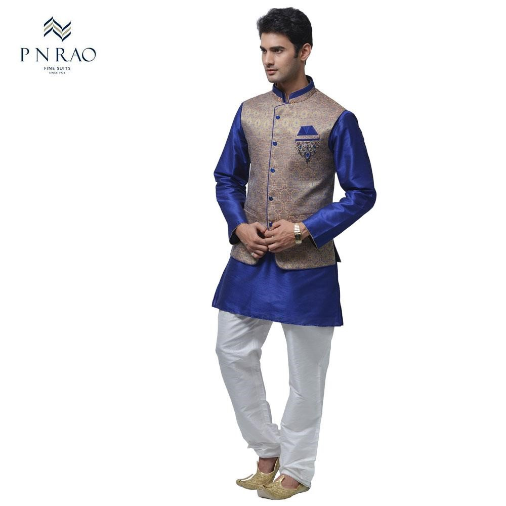 mens blue and white silk kurta