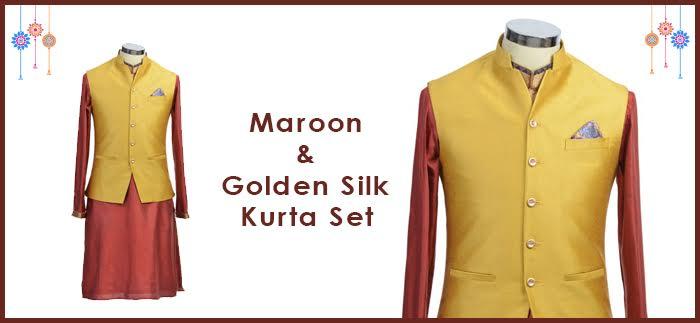 Maroon and Golden Silk Kurta Set