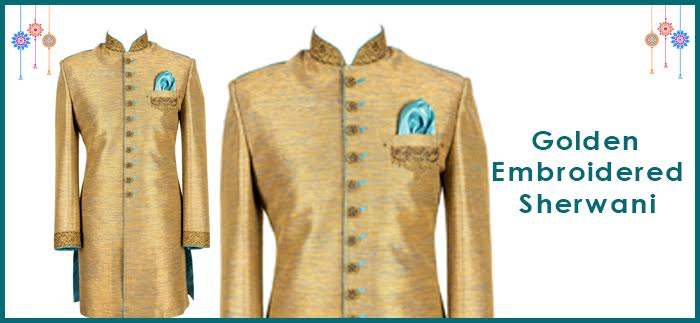 Golden embroidered Sherwani