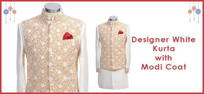 Designer white kurta with modi coat