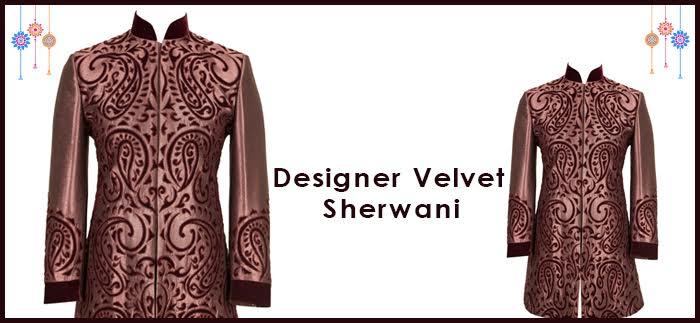 Designer Maroon Velvet Sherwani