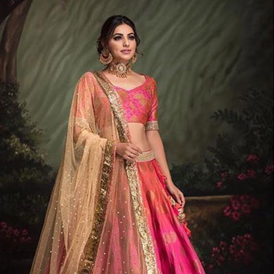 fuchsia shaded lehenga set