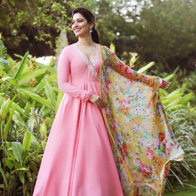 pink anarkali with floral dupatta