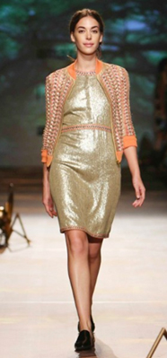 Gold sequin dress with chain embroidery