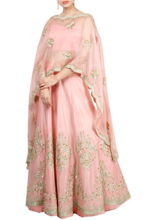 Pink Embroidered Cape With Lehenga | Ayushi Bhasin