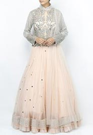 blush swarovski embellished gown
