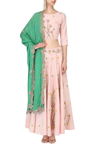 blush embroidered crop top and lehenga