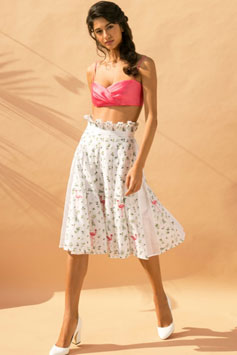 ivory flamingo and leaf embroidered pleated skirt