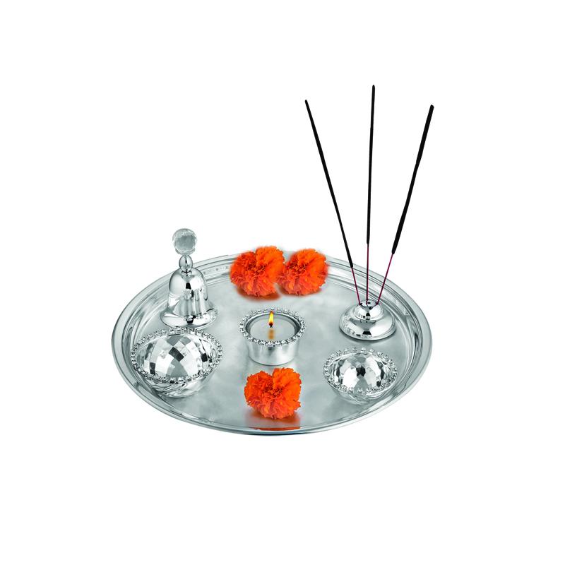 Puja Thali (Tea Light + 2 Katori + Agarbati Stand + Bell)