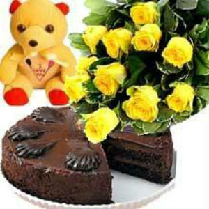 Chocolate Truffle Cake, Teddy n Yellow Rose Bunch