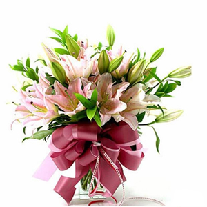 10 Oriantal Pink Lilies in vase