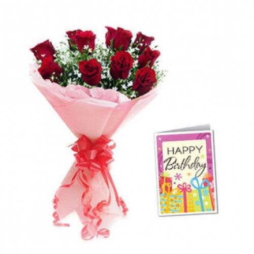 10 Red Roses Bunch with Greeting Card