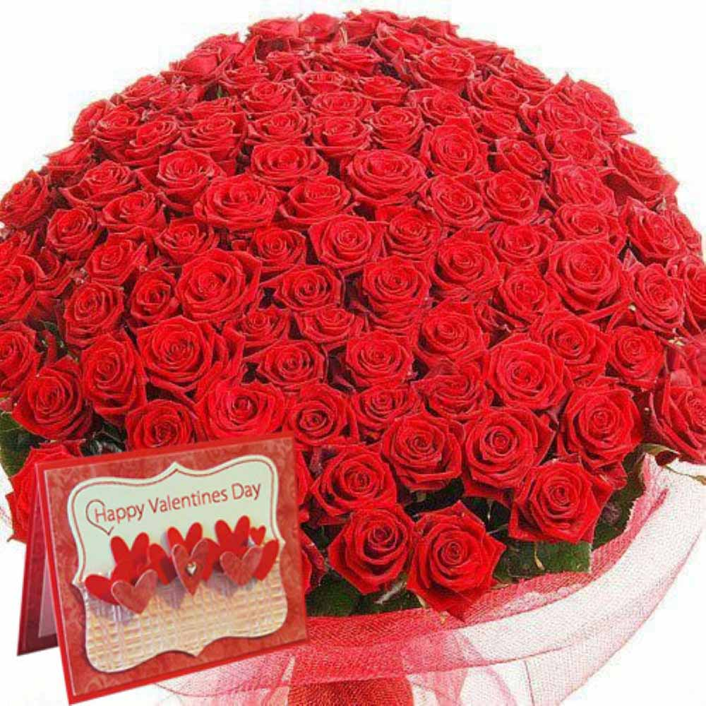 Valentines 100 Red Roses With Greeting Card