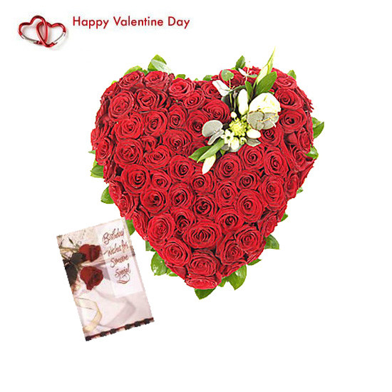 100 Red Roses n Valentine Greeting Card