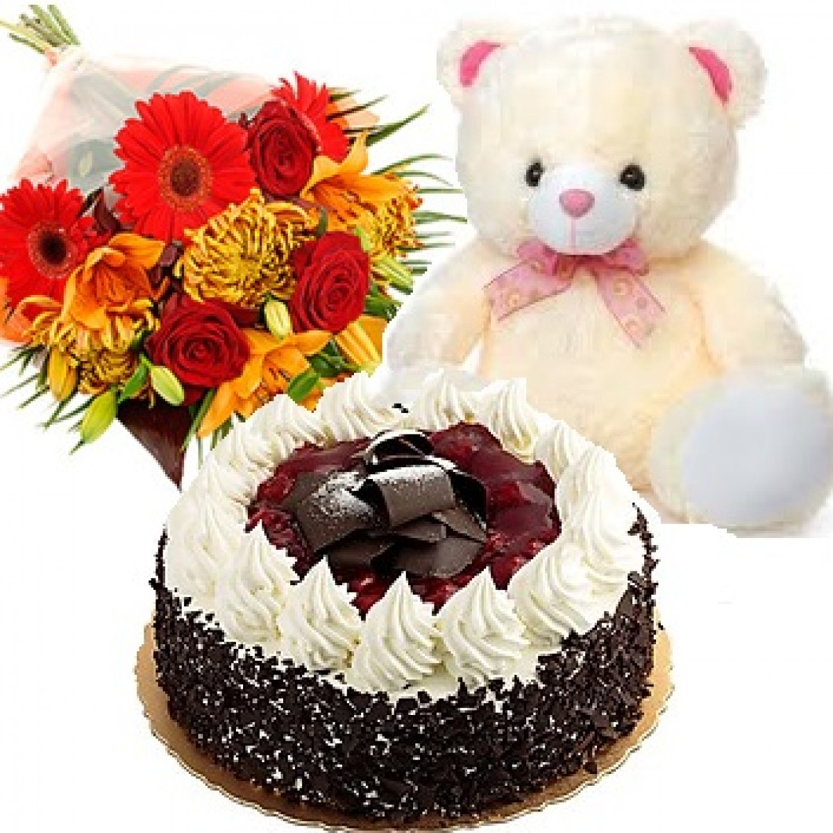 12 Mix Flowers Bunch With Cake N Teddy