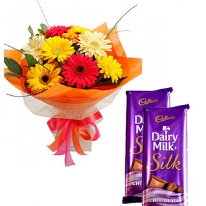 12 Mixed Gerberas with Silk Chocolates