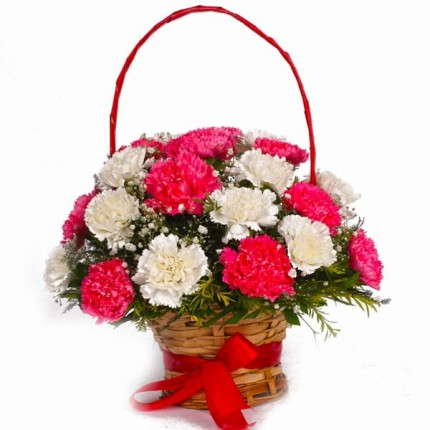 Basket Arrangement of 12 Pink and White Carnations