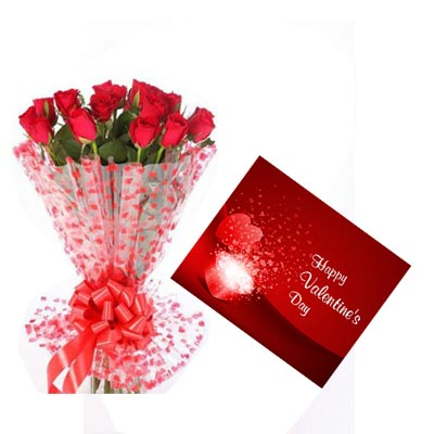 12 Red Roses With Valentine Greeting Card