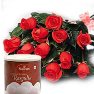 12 Roses with Rasgulla