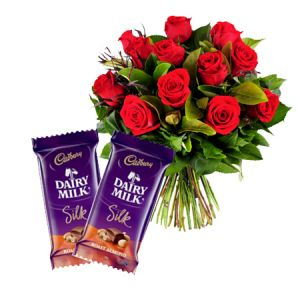 12 Red Roses With Dairy Milk Silk Chocolates