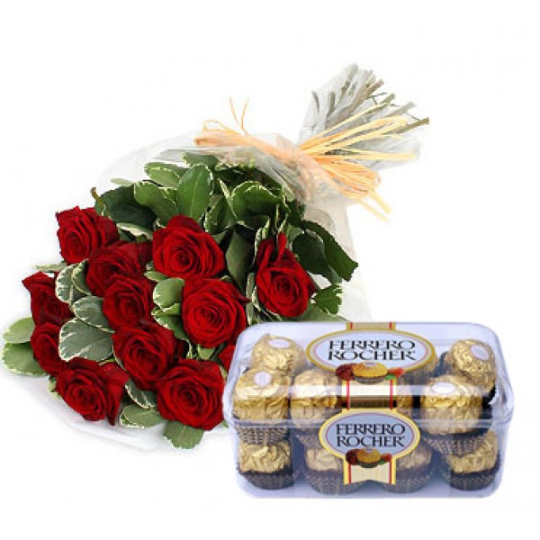12 Red Roses N Ferrero Chocolates