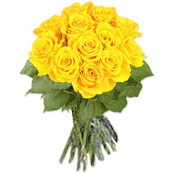 12 Long Stem Yellow Roses Bunch