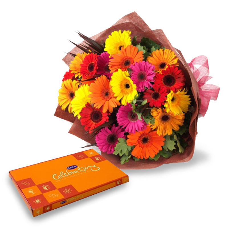 15 Mix Gerberas with Celebration Chocolates
