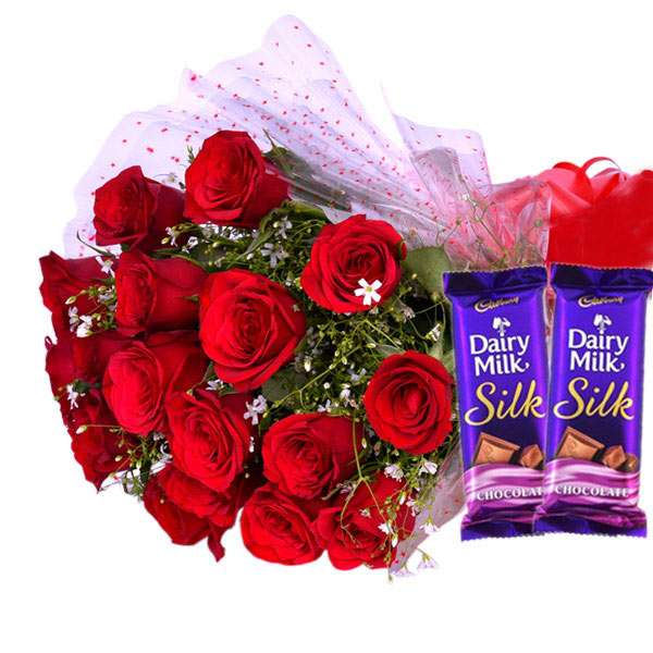 15 Red Roses With Dairy Milk Silk Chocolates