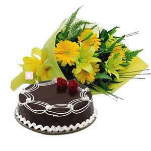 15 Yellow Gerberas Bunch with 1Kg Chocolate Cake