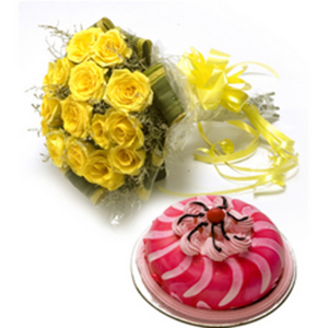 15 Yellow Roses With 1kg Cake