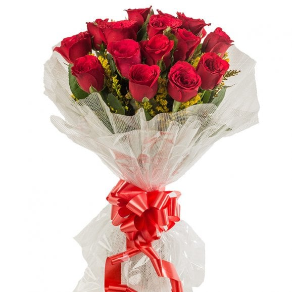 Natural 15 Red Roses Bouquet