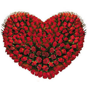 150 Red Roses Heart Shape Arrangement
